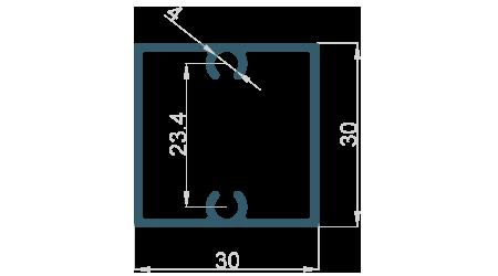 Jekl 30x30x1,3 s drážkou pro šrouby